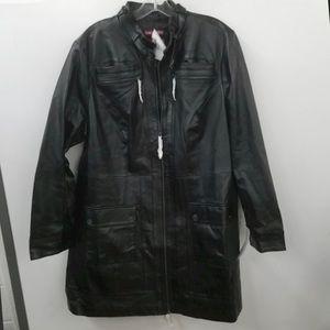 Jessica London Black Leather Coat Sz 18